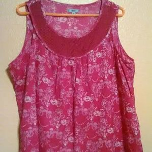 Izod pink floral sleeveless blouse